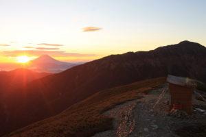 小河内岳から見た荒川岳。間の稜線直下1400mをリニアが走る。