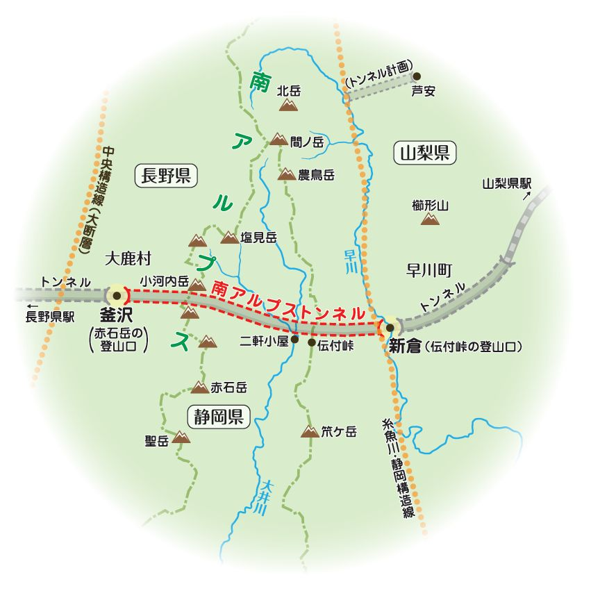 「釜沢」と「新倉」はリニア新幹線が一瞬、地上に出る部分。 「二軒小屋」とあわせた3カ所がトンネル掘削工事の主要基地になる